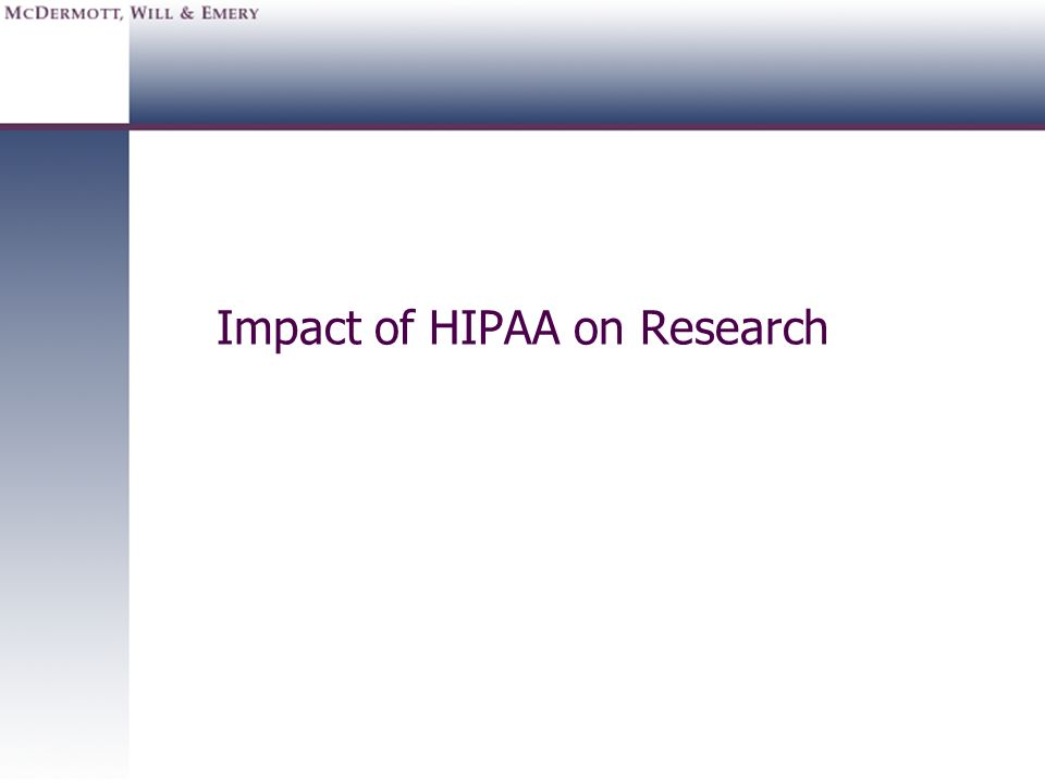 Impact of HIPAA on Research