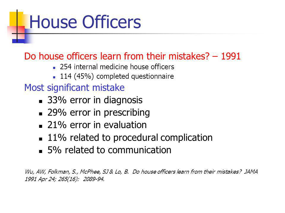House Officers Do house officers learn from their mistakes.