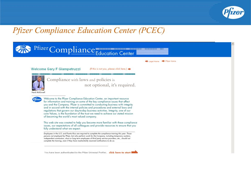 Pfizer Compliance Education Center (PCEC)