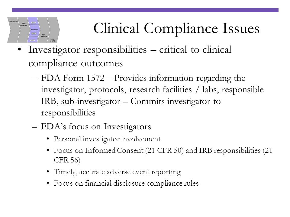 Clinical Compliance Issues Investigator responsibilities – critical to clinical compliance outcomes –FDA Form 1572 – Provides information regarding th