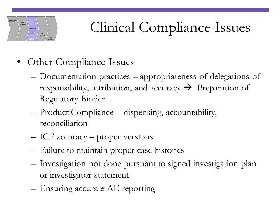 Clinical Compliance Issues Other Compliance Issues –Documentation practices – appropriateness of delegations of responsibility, attribution, and accur