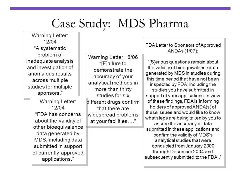 FDA Letter to Sponsors of Approved ANDAs (1/07): [S]erious questions remain about the validity of bioequivalence data generated by MDS in studies duri