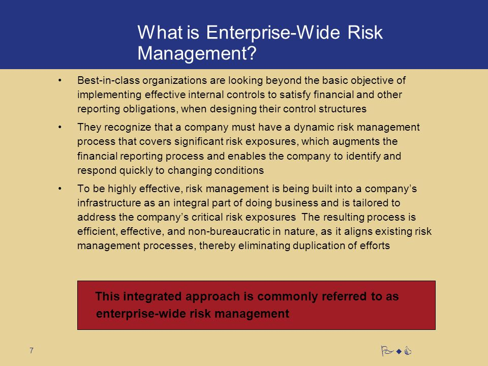7 PwC What is Enterprise-Wide Risk Management.
