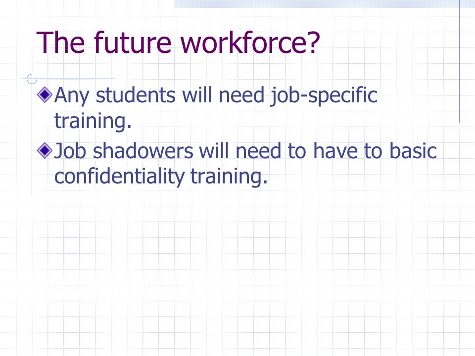 The future workforce? Any students will need job-specific training. Job shadowers will need to have to basic confidentiality training.