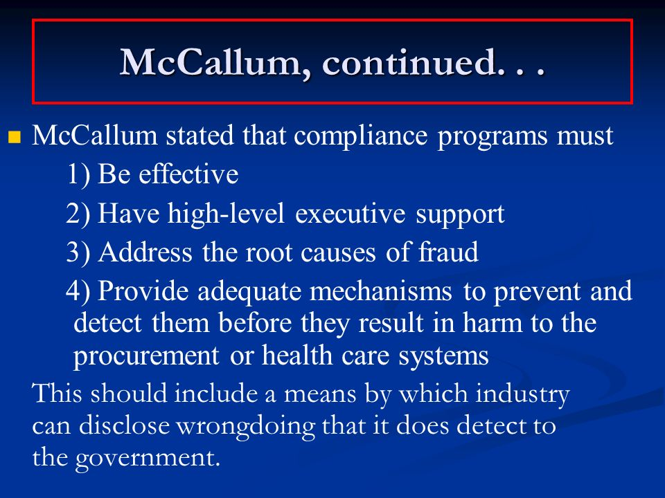 McCallum, continued...