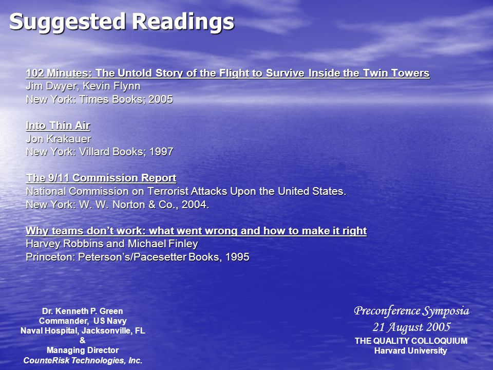 Preconference Symposia 21 August 2005 THE QUALITY COLLOQUIUM Harvard University Suggested Readings 102 Minutes: The Untold Story of the Flight to Surv