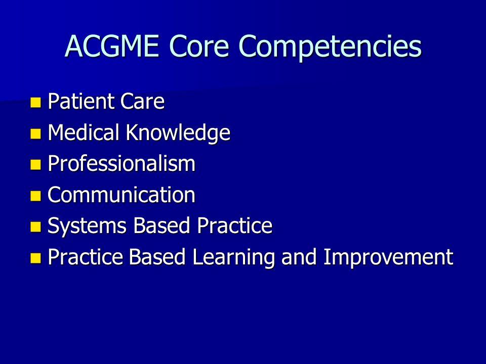 ACGME Core Competencies Patient Care Patient Care Medical Knowledge Medical Knowledge Professionalism Professionalism Communication Communication Syst