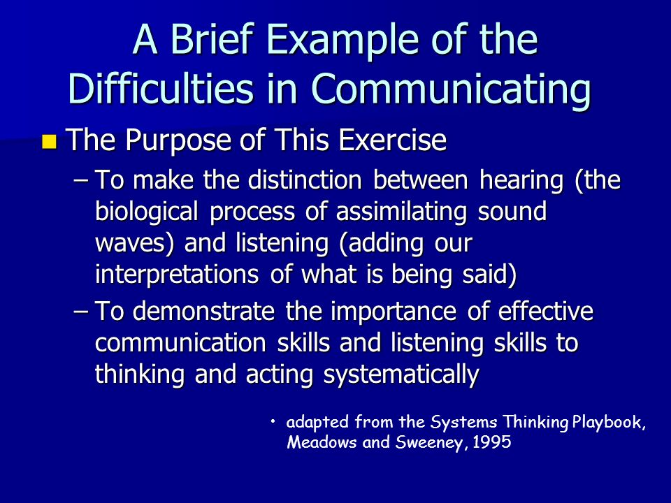 A Brief Example of the Difficulties in Communicating The Purpose of This Exercise The Purpose of This Exercise –To make the distinction between hearin