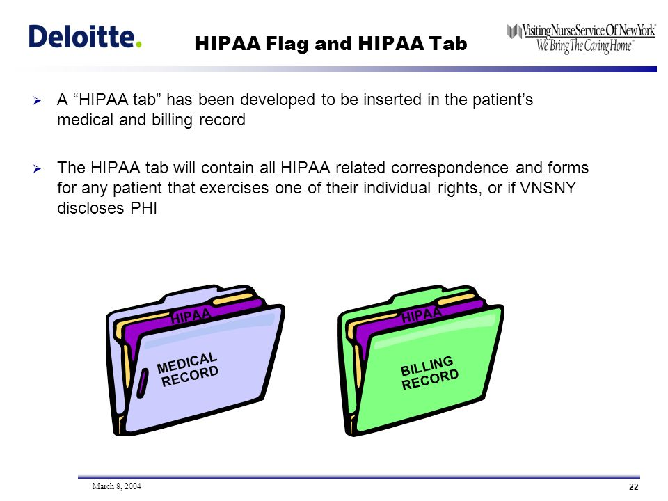 22 March 8, 2004 HIPAA Flag and HIPAA Tab A HIPAA tab has been developed to be inserted in the patients medical and billing record The HIPAA tab will contain all HIPAA related correspondence and forms for any patient that exercises one of their individual rights, or if VNSNY discloses PHI HIPAA MEDICAL RECORD BILLING RECORD HIPAA MEDICAL RECORD HIPAA