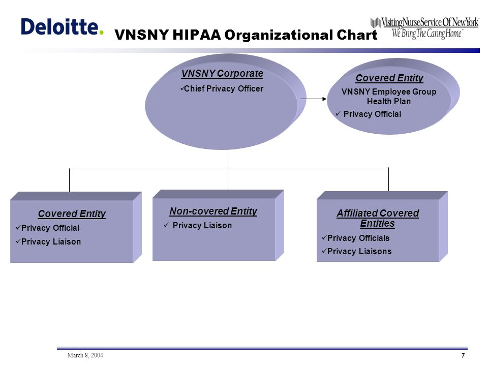 7 March 8, 2004 VNSNY HIPAA Organizational Chart Non-covered Entity Privacy Liaison Covered Entity Privacy Official Privacy Liaison VNSNY Corporate Chief Privacy Officer Covered Entity VNSNY Employee Group Health Plan Privacy Official Affiliated Covered Entities Privacy Officials Privacy Liaisons