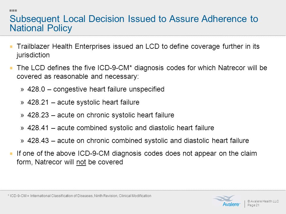 © Avalere Health LLC Page 21 Subsequent Local Decision Issued to Assure Adherence to National Policy Trailblazer Health Enterprises issued an LCD to define coverage further in its jurisdiction The LCD defines the five ICD-9-CM* diagnosis codes for which Natrecor will be covered as reasonable and necessary: »428.0 – congestive heart failure unspecified »428.21 – acute systolic heart failure »428.23 – acute on chronic systolic heart failure »428.41 – acute combined systolic and diastolic heart failure »428.43 – acute on chronic combined systolic and diastolic heart failure If one of the above ICD-9-CM diagnosis codes does not appear on the claim form, Natrecor will not be covered * ICD-9-CM = International Classification of Diseases, Ninth Revision, Clinical Modification