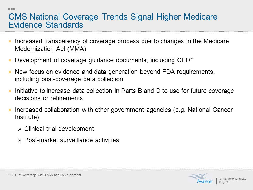 © Avalere Health LLC Page 9 CMS National Coverage Trends Signal Higher Medicare Evidence Standards Increased transparency of coverage process due to changes in the Medicare Modernization Act (MMA) Development of coverage guidance documents, including CED* New focus on evidence and data generation beyond FDA requirements, including post-coverage data collection Initiative to increase data collection in Parts B and D to use for future coverage decisions or refinements Increased collaboration with other government agencies (e.g.