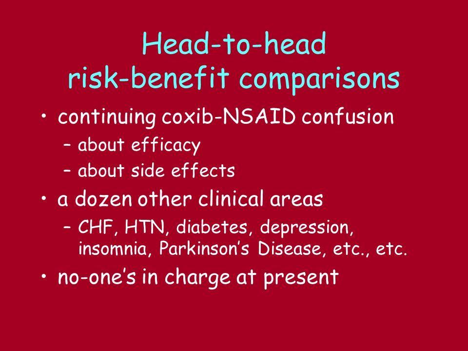 Head-to-head risk-benefit comparisons continuing coxib-NSAID confusion –about efficacy –about side effects a dozen other clinical areas –CHF, HTN, diabetes, depression, insomnia, Parkinsons Disease, etc., etc.