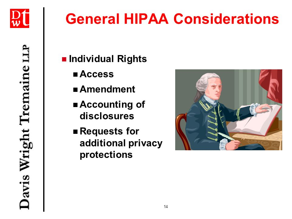Davis Wright Tremaine LLP 14 General HIPAA Considerations Individual Rights Access Amendment Accounting of disclosures Requests for additional privacy