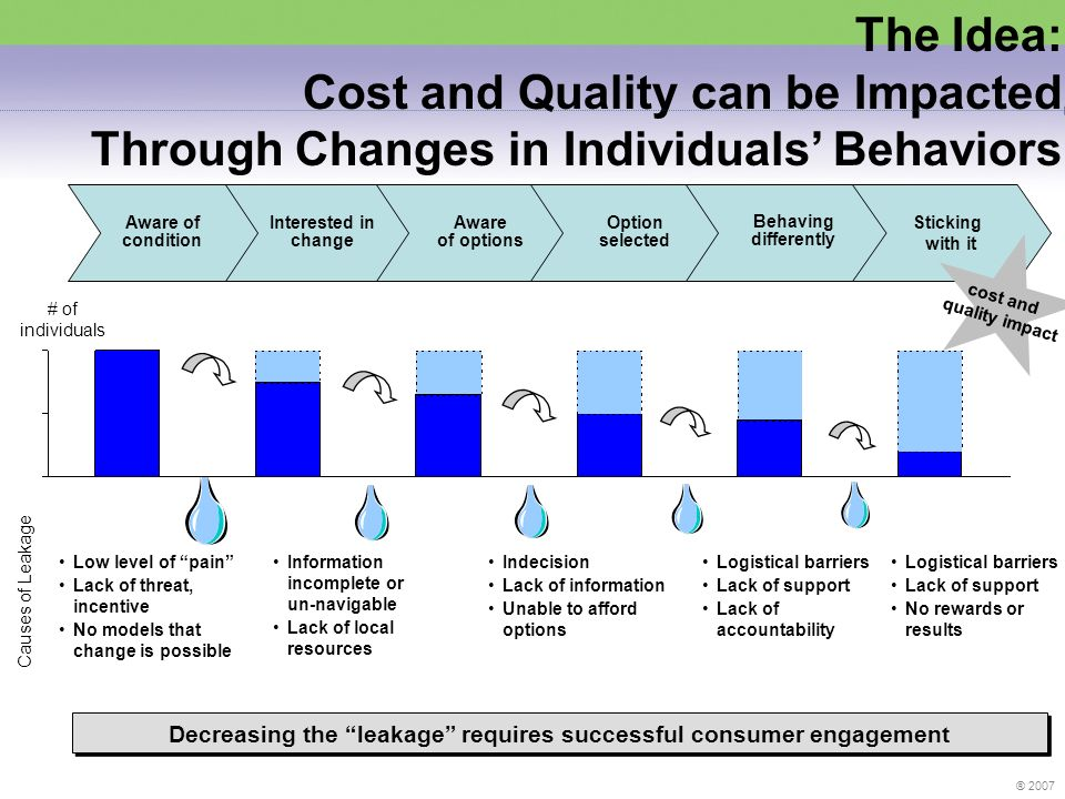 ® 2007 The Idea: Cost and Quality can be Impacted Through Changes in Individuals Behaviors Decreasing the leakage requires successful consumer engagement Interested in change Aware of options Option selected Behaving differently Aware of condition Sticking with it # of individuals Low level of pain Lack of threat, incentive No models that change is possible Causes of Leakage Information incomplete or un-navigable Lack of local resources Indecision Lack of information Unable to afford options Logistical barriers Lack of support Lack of accountability Logistical barriers Lack of support No rewards or results cost and quality impact