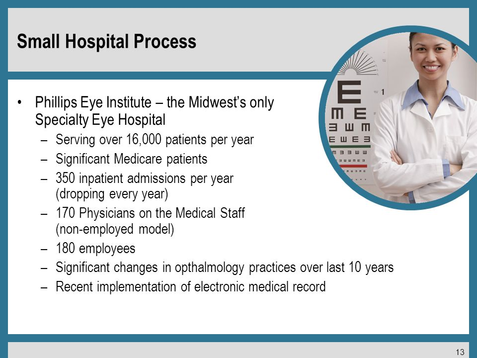 13 Small Hospital Process Phillips Eye Institute – the Midwests only Specialty Eye Hospital –Serving over 16,000 patients per year –Significant Medicare patients –350 inpatient admissions per year (dropping every year) –170 Physicians on the Medical Staff (non-employed model) –180 employees –Significant changes in opthalmology practices over last 10 years –Recent implementation of electronic medical record