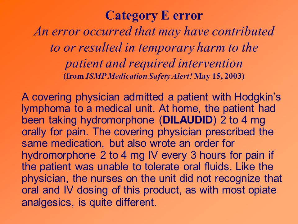 Category E error An error occurred that may have contributed to or resulted in temporary harm to the patient and required intervention (from ISMP Medication Safety Alert.