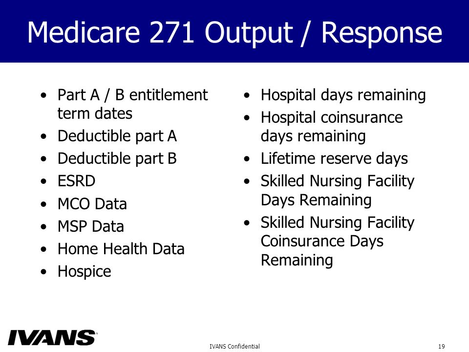 19IVANS Confidential Medicare 271 Output / Response Part A / B entitlement term dates Deductible part A Deductible part B ESRD MCO Data MSP Data Home Health Data Hospice Hospital days remaining Hospital coinsurance days remaining Lifetime reserve days Skilled Nursing Facility Days Remaining Skilled Nursing Facility Coinsurance Days Remaining