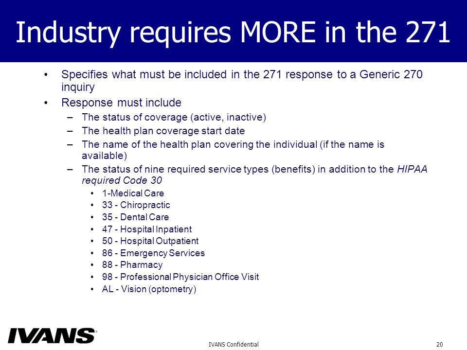 20IVANS Confidential Industry requires MORE in the 271 Specifies what must be included in the 271 response to a Generic 270 inquiry Response must include –The status of coverage (active, inactive) –The health plan coverage start date –The name of the health plan covering the individual (if the name is available) –The status of nine required service types (benefits) in addition to the HIPAA required Code 30 1-Medical Care 33 - Chiropractic 35 - Dental Care 47 - Hospital Inpatient 50 - Hospital Outpatient 86 - Emergency Services 88 - Pharmacy 98 - Professional Physician Office Visit AL - Vision (optometry)