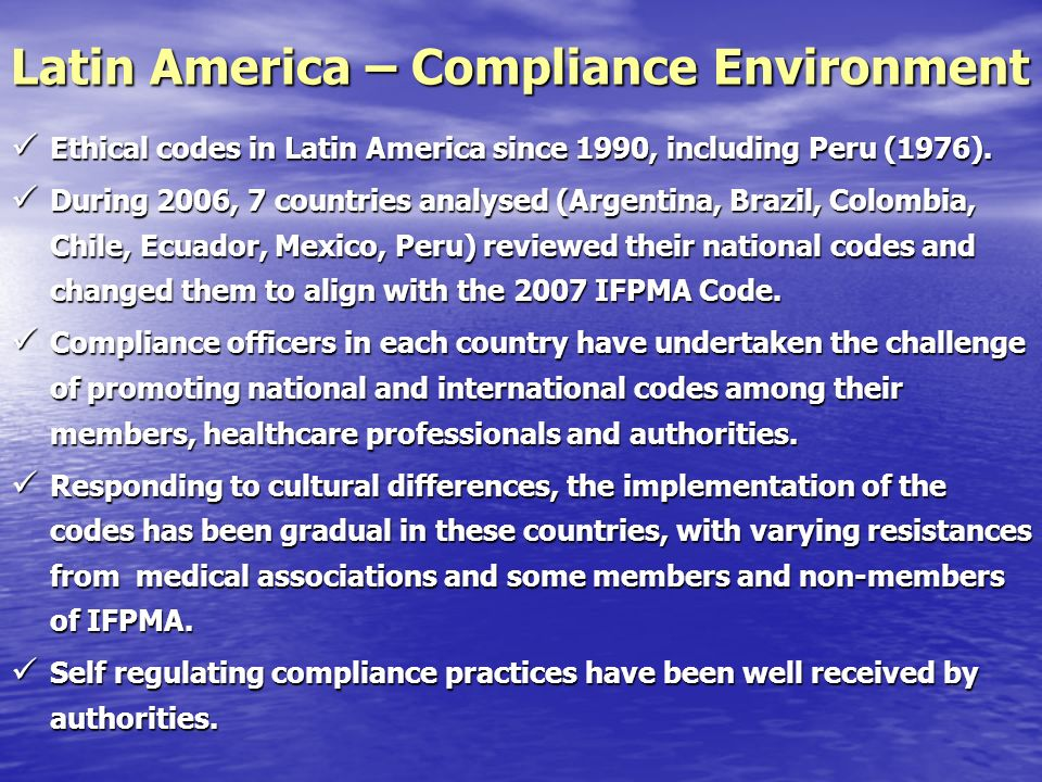 Ethical codes in Latin America since 1990, including Peru (1976).