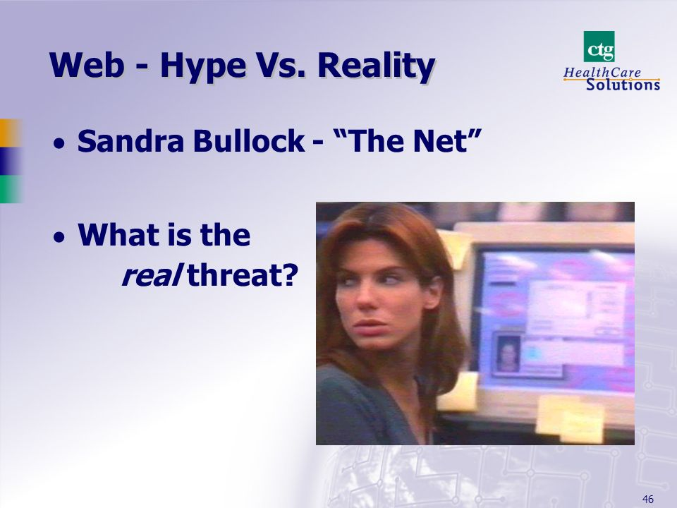 46 Web - Hype Vs. Reality Sandra Bullock - The Net What is the real threat?
