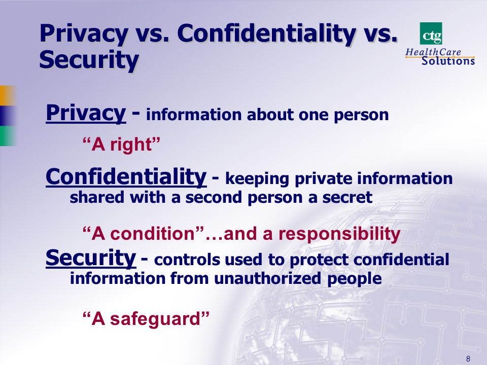 8 Privacy - information about one person Confidentiality - keeping private information shared with a second person a secret Security - controls used t