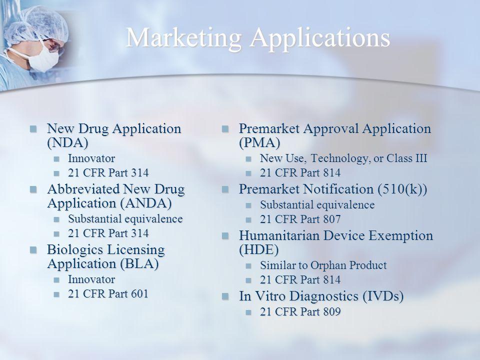 Marketing Applications New Drug Application (NDA) New Drug Application (NDA) Innovator Innovator 21 CFR Part 314 21 CFR Part 314 Abbreviated New Drug