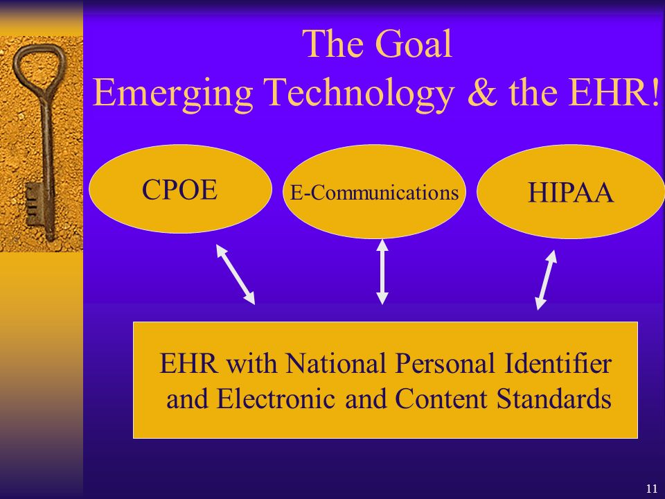 11 The Goal Emerging Technology & the EHR.