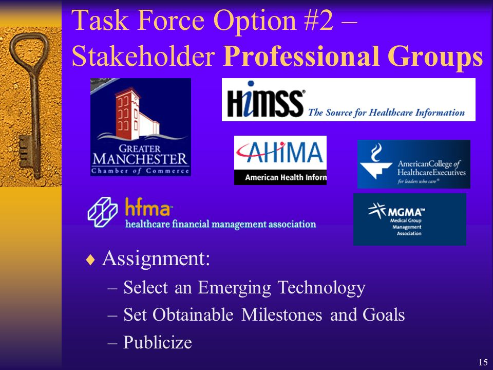 15 Assignment: –Select an Emerging Technology –Set Obtainable Milestones and Goals –Publicize Task Force Option #2 – Stakeholder Professional Groups