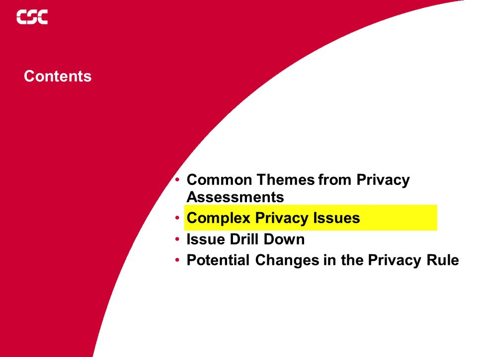 Contents Common Themes from Privacy Assessments Complex Privacy Issues Issue Drill Down Potential Changes in the Privacy Rule