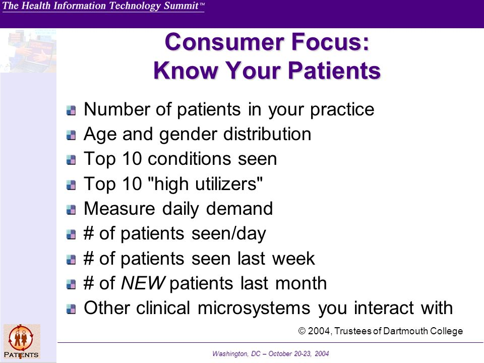 Washington, DC – October 20-23, 2004 Consumer Focus: Know Your Patients Number of patients in your practice Age and gender distribution Top 10 conditi
