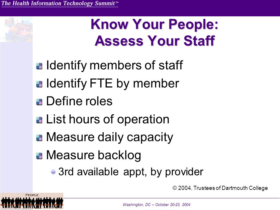 Washington, DC – October 20-23, 2004 Know Your People: Assess Your Staff Identify members of staff Identify FTE by member Define roles List hours of o