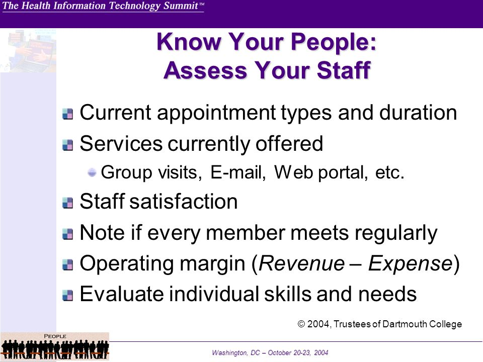 Washington, DC – October 20-23, 2004 Know Your People: Assess Your Staff Current appointment types and duration Services currently offered Group visit