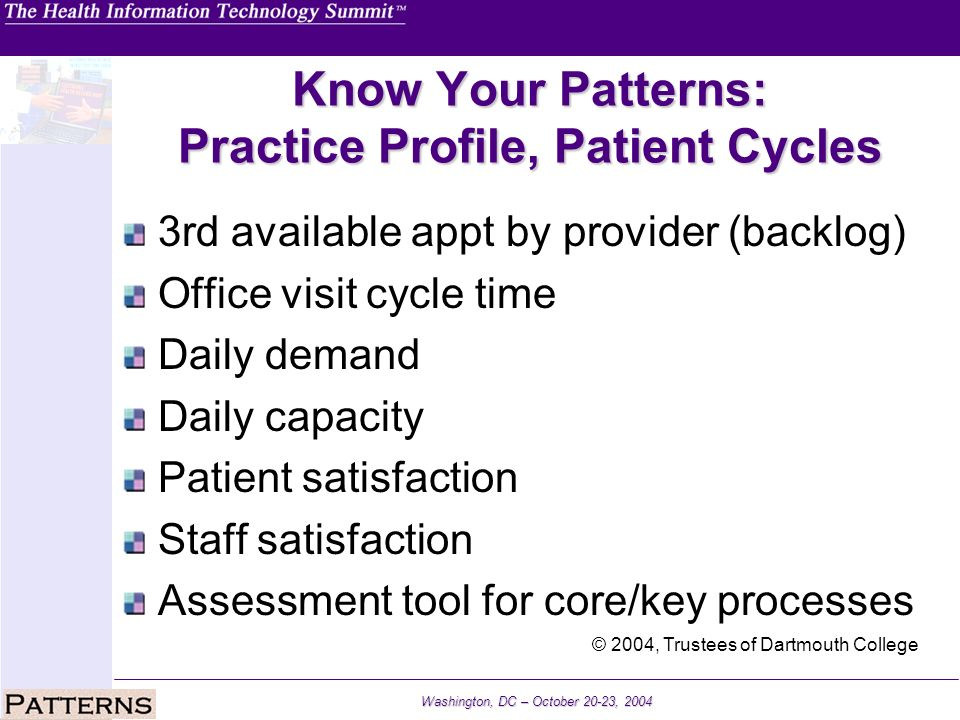 Washington, DC – October 20-23, 2004 Know Your Patterns: Practice Profile, Patient Cycles 3rd available appt by provider (backlog) Office visit cycle