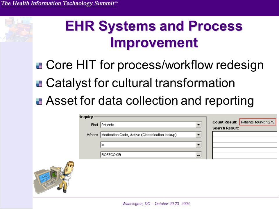 Washington, DC – October 20-23, 2004 EHR Systems and Process Improvement Core HIT for process/workflow redesign Catalyst for cultural transformation A