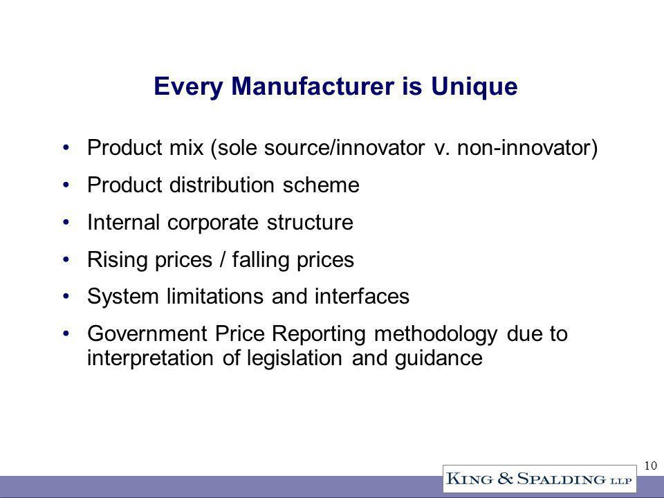 10 Every Manufacturer is Unique Product mix (sole source/innovator v.