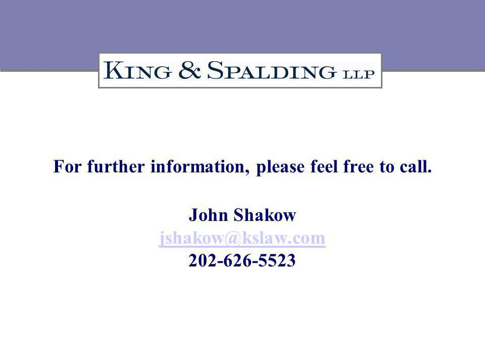 For further information, please feel free to call.