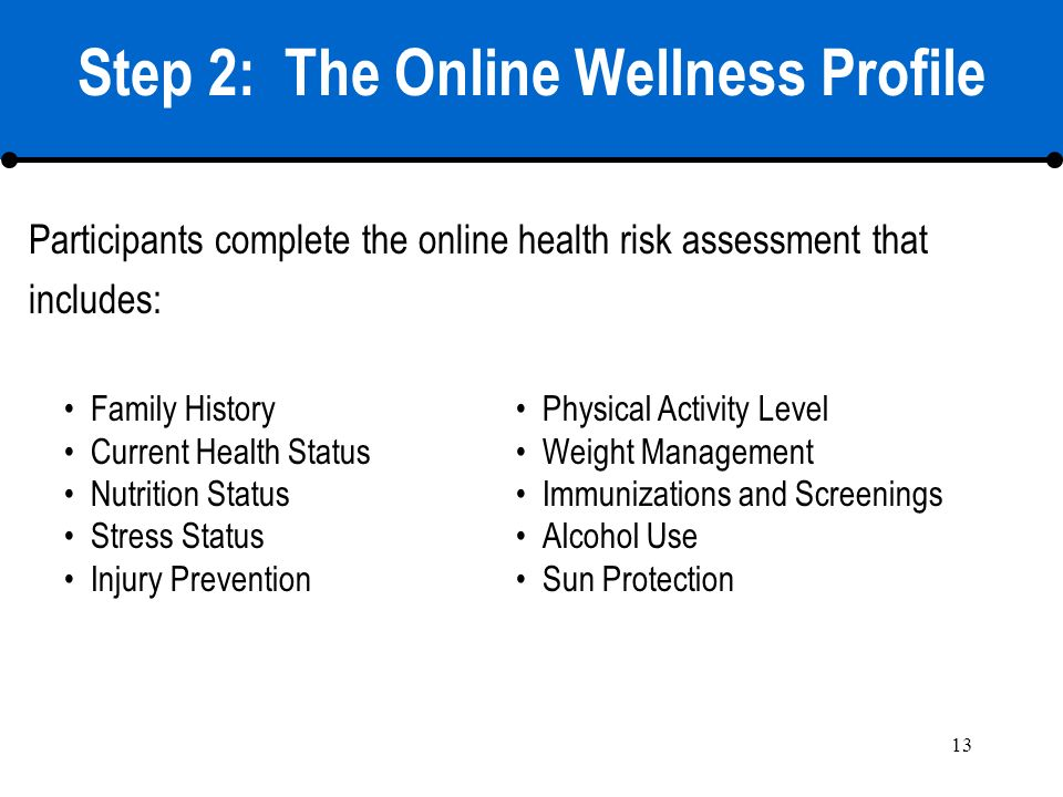 13 Step 2: The Online Wellness Profile Participants complete the online health risk assessment that includes: Family History Current Health Status Nut