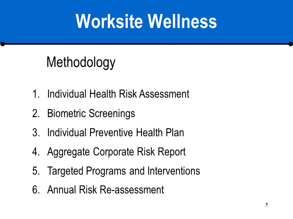 5 Worksite Wellness 1.Individual Health Risk Assessment 2.Biometric Screenings 3.Individual Preventive Health Plan 4.Aggregate Corporate Risk Report 5.Targeted Programs and Interventions 6.Annual Risk Re-assessment Methodology