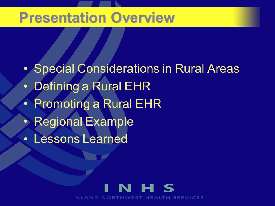 Presentation Overview Special Considerations in Rural Areas Defining a Rural EHR Promoting a Rural EHR Regional Example Lessons Learned