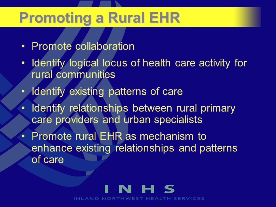 Promoting a Rural EHR Promote collaboration Identify logical locus of health care activity for rural communities Identify existing patterns of care Identify relationships between rural primary care providers and urban specialists Promote rural EHR as mechanism to enhance existing relationships and patterns of care