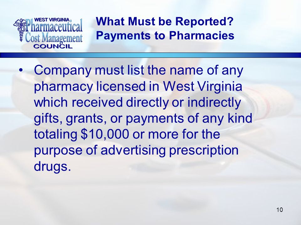 10 Company must list the name of any pharmacy licensed in West Virginia which received directly or indirectly gifts, grants, or payments of any kind totaling $10,000 or more for the purpose of advertising prescription drugs.