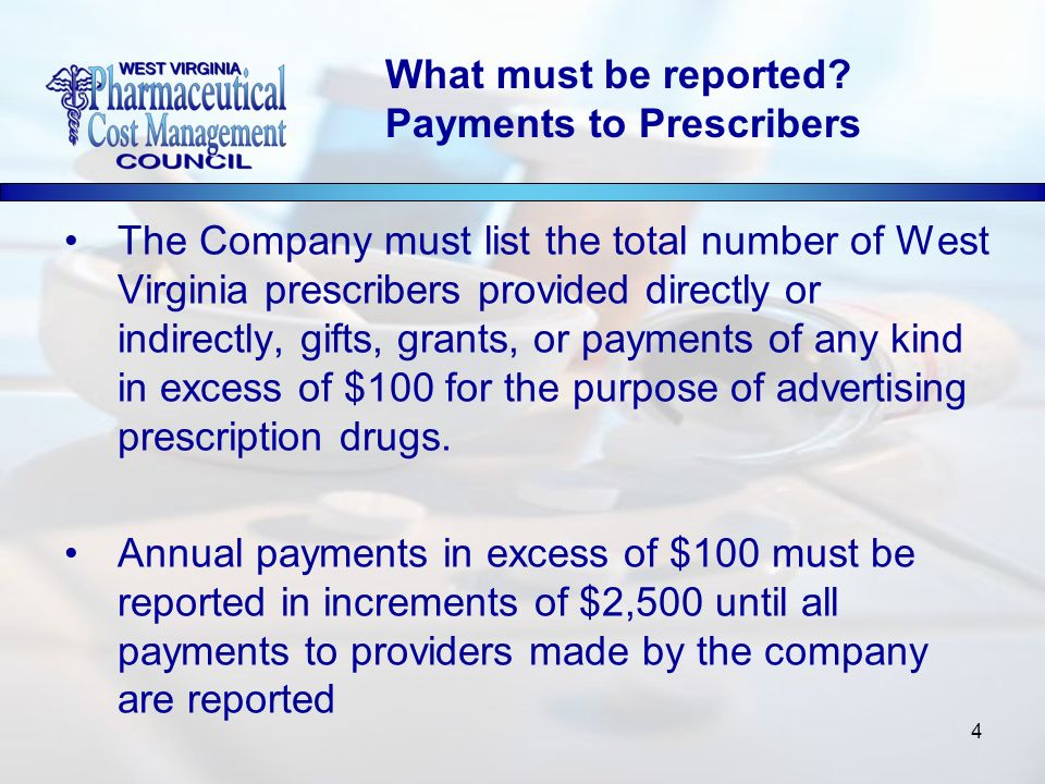 4 The Company must list the total number of West Virginia prescribers provided directly or indirectly, gifts, grants, or payments of any kind in excess of $100 for the purpose of advertising prescription drugs.