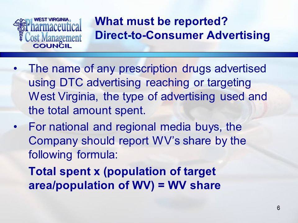 6 The name of any prescription drugs advertised using DTC advertising reaching or targeting West Virginia, the type of advertising used and the total amount spent.