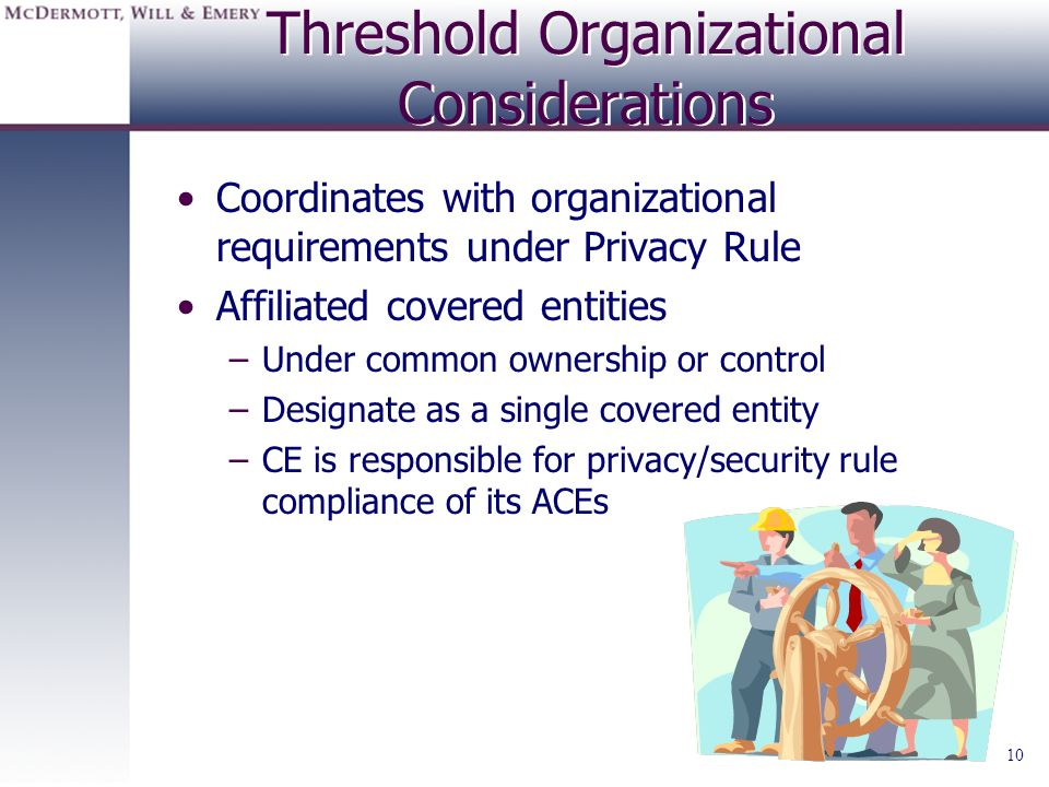 10 Threshold Organizational Considerations Coordinates with organizational requirements under Privacy Rule Affiliated covered entities –Under common o