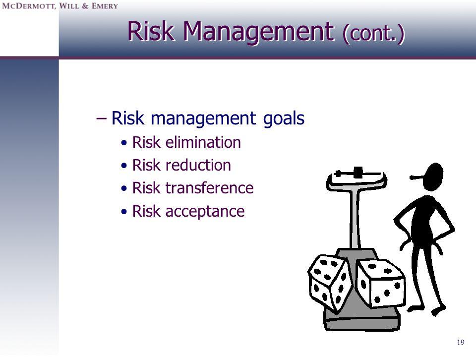 19 Risk Management (cont.) –Risk management goals Risk elimination Risk reduction Risk transference Risk acceptance