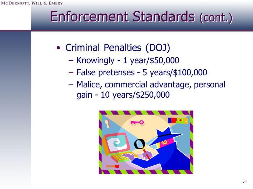 34 Enforcement Standards (cont.) Criminal Penalties (DOJ) –Knowingly - 1 year/$50,000 –False pretenses - 5 years/$100,000 –Malice, commercial advantag