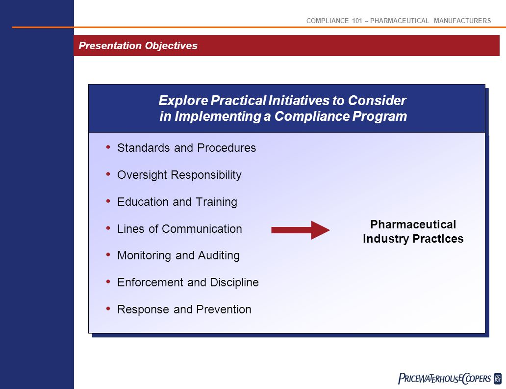 COMPLIANCE 101 – PHARMACEUTICAL MANUFACTURERS Presentation Objectives Standards and Procedures Oversight Responsibility Education and Training Lines of Communication Monitoring and Auditing Enforcement and Discipline Response and Prevention Explore Practical Initiatives to Consider in Implementing a Compliance Program Pharmaceutical Industry Practices