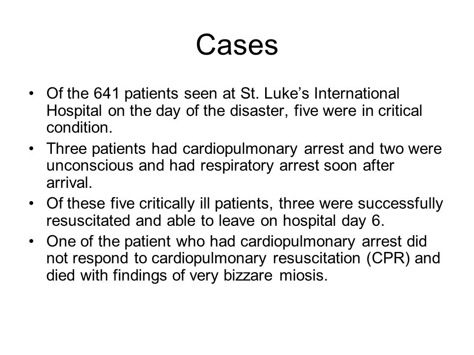 Cases Of the 641 patients seen at St.