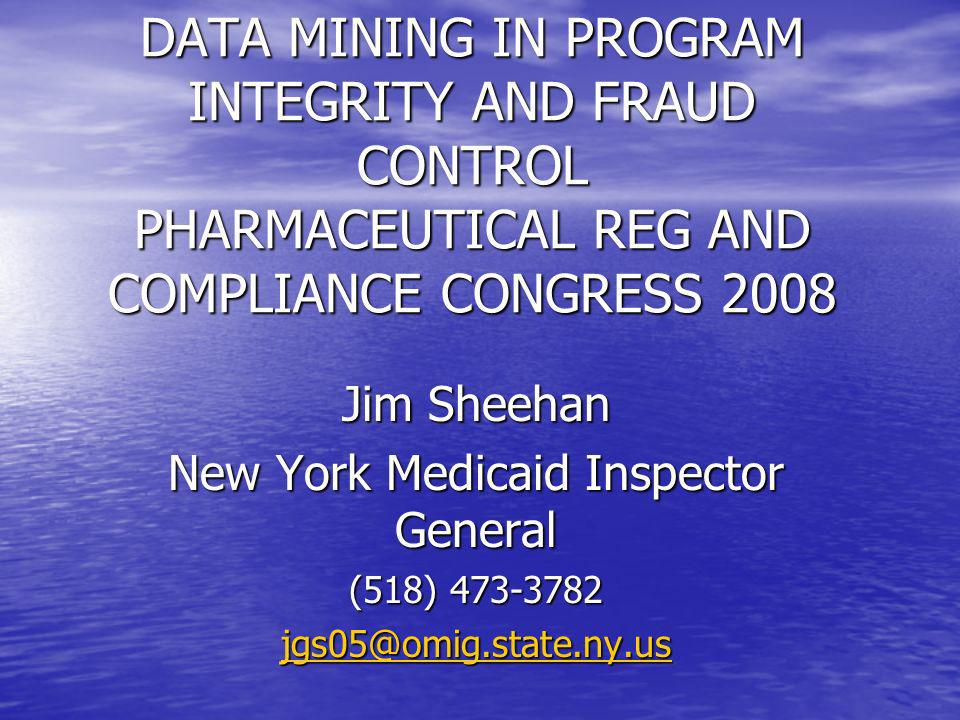 Program Integrity and Data Mining Systems Program Integrity and Data Mining Systems Data mining is a developing area – processing speed doubles every two years, software and analytic approaches move at same speed.